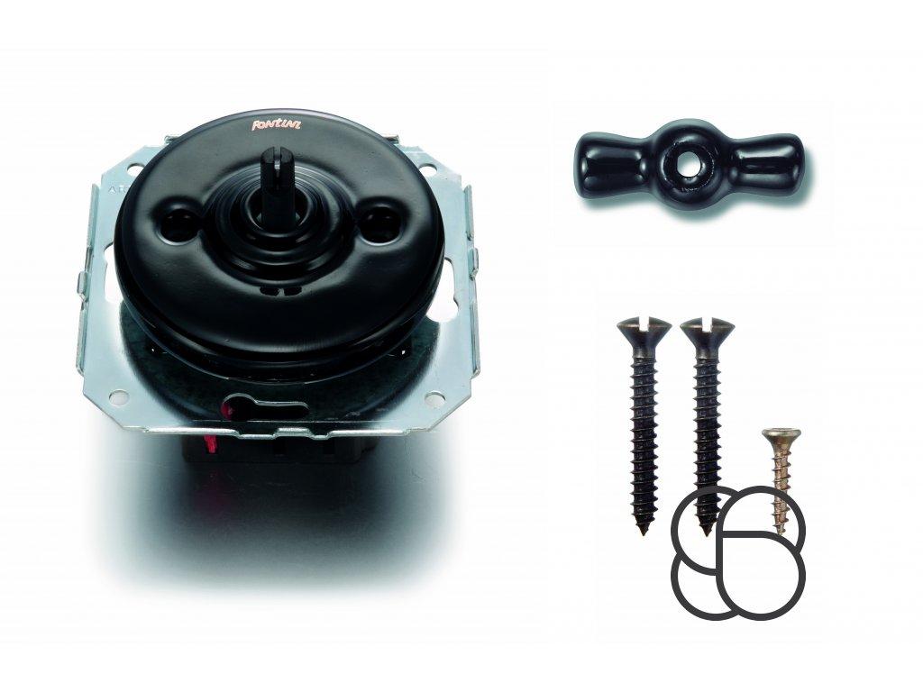 Porcelánový vypínač Garby Colonial černý/klička černá