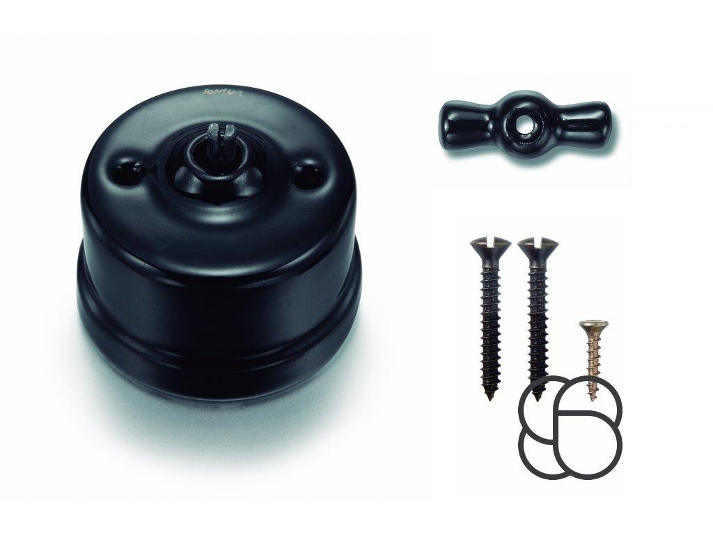 Porcelánový vypínač povrchový Garby černý/keramická klička
