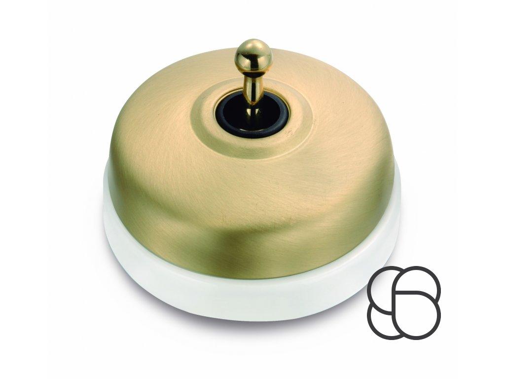 Porcelánový vypínač Dimbler bílá - kryt zlatá/páčka zlatá