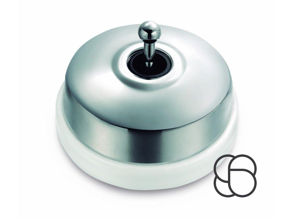 Porcelánový vypínač Dimbler bílá - kryt chrom/páčka chrom