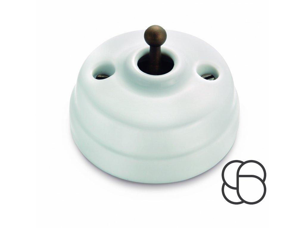 Porcelánové páčkové tlačítko Dimbler - bílý porcelán