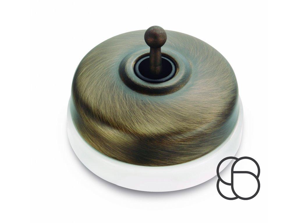 Porcelánové páčkové tlačítko Dimbler - bílý porcelán/kryt kov