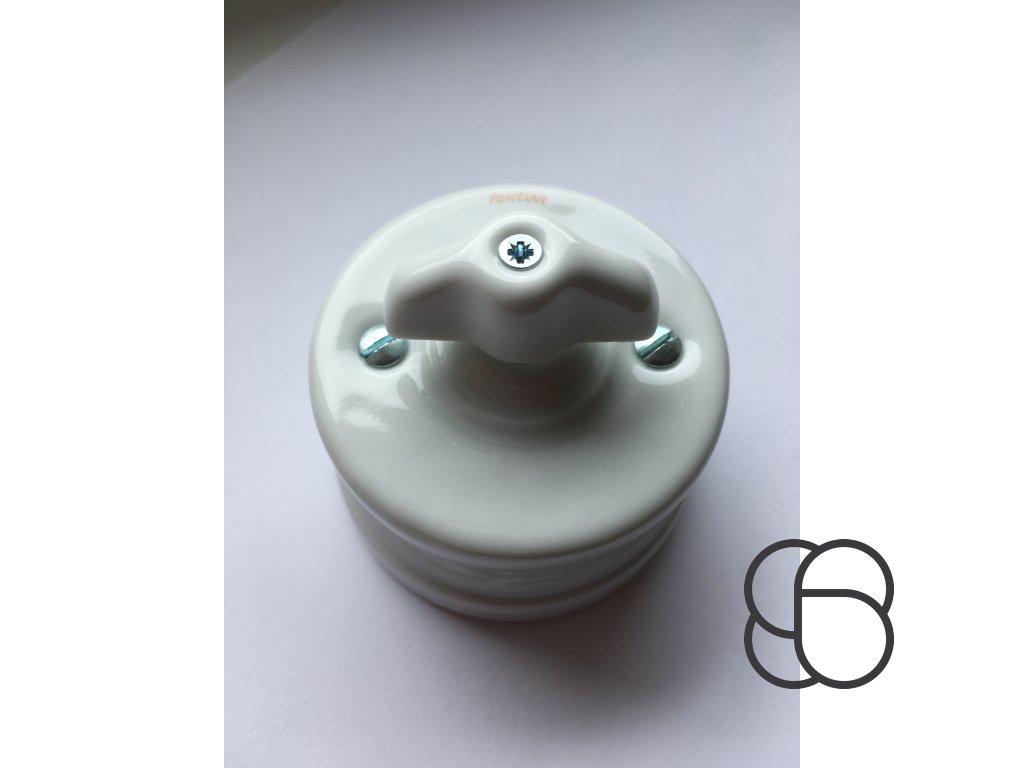 Porcelánový vypínač povrchový Garby bílý s retro kličkou  - výprodej