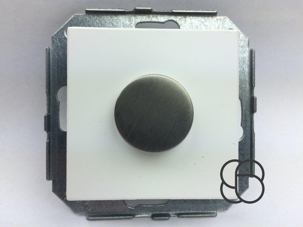 Tlačítko F-37 bílý plast/nerez. ocel