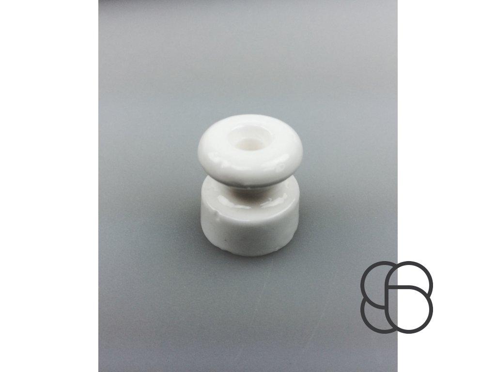 Kabelová úchytka porcelánová bílá