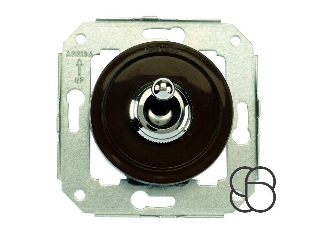 Plastový vypínač Venezia hnědý/chromová páčka