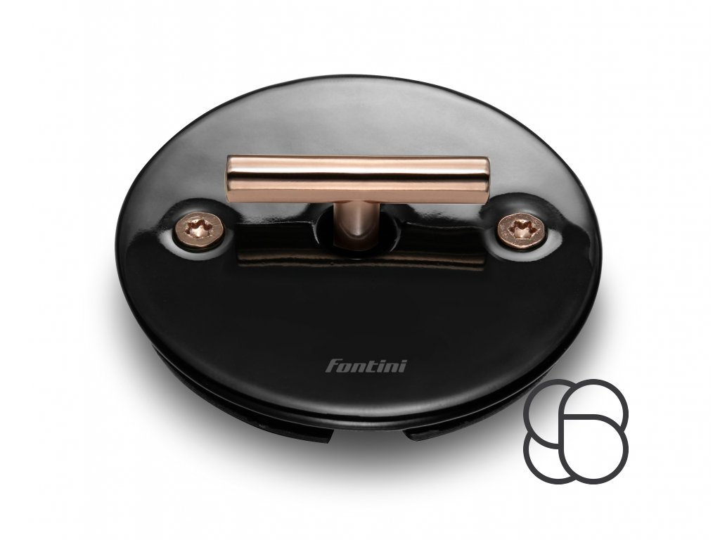 Porcelánový vypínač DO FIT černý/klička měď