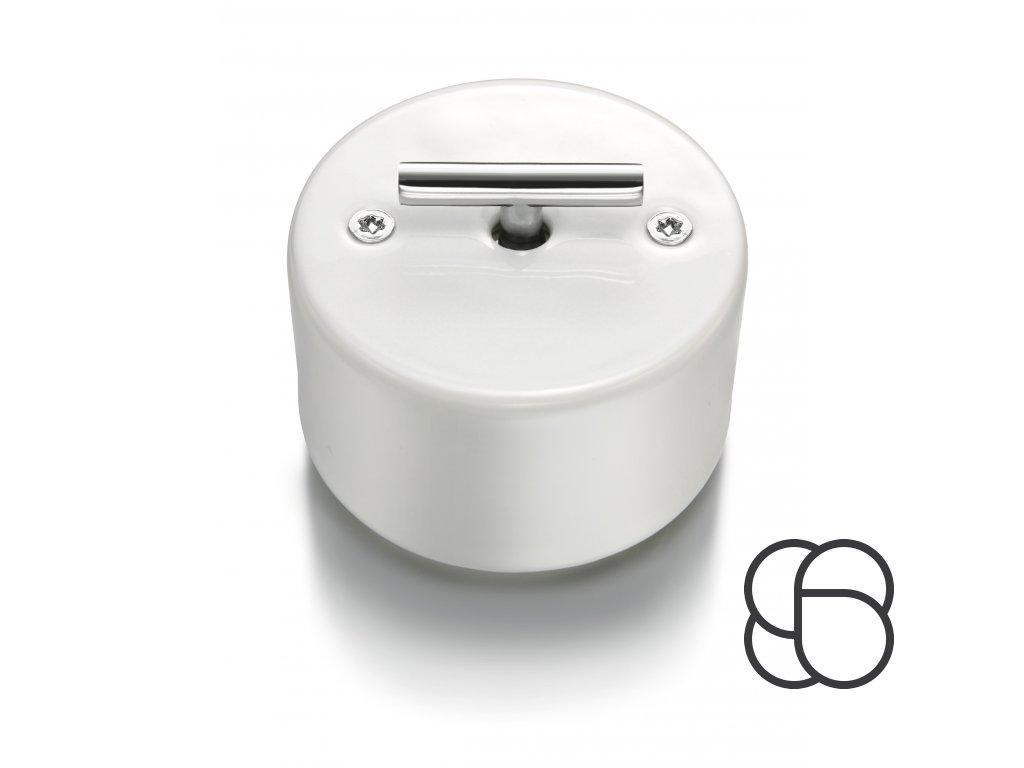 Porcelánový vypínač DO bílý/klička chrom