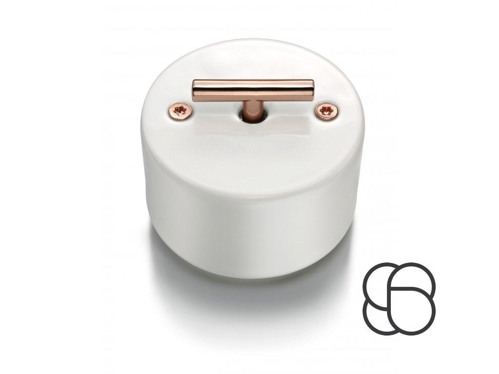 Porcelánový vypínač DO bílý/klička měď