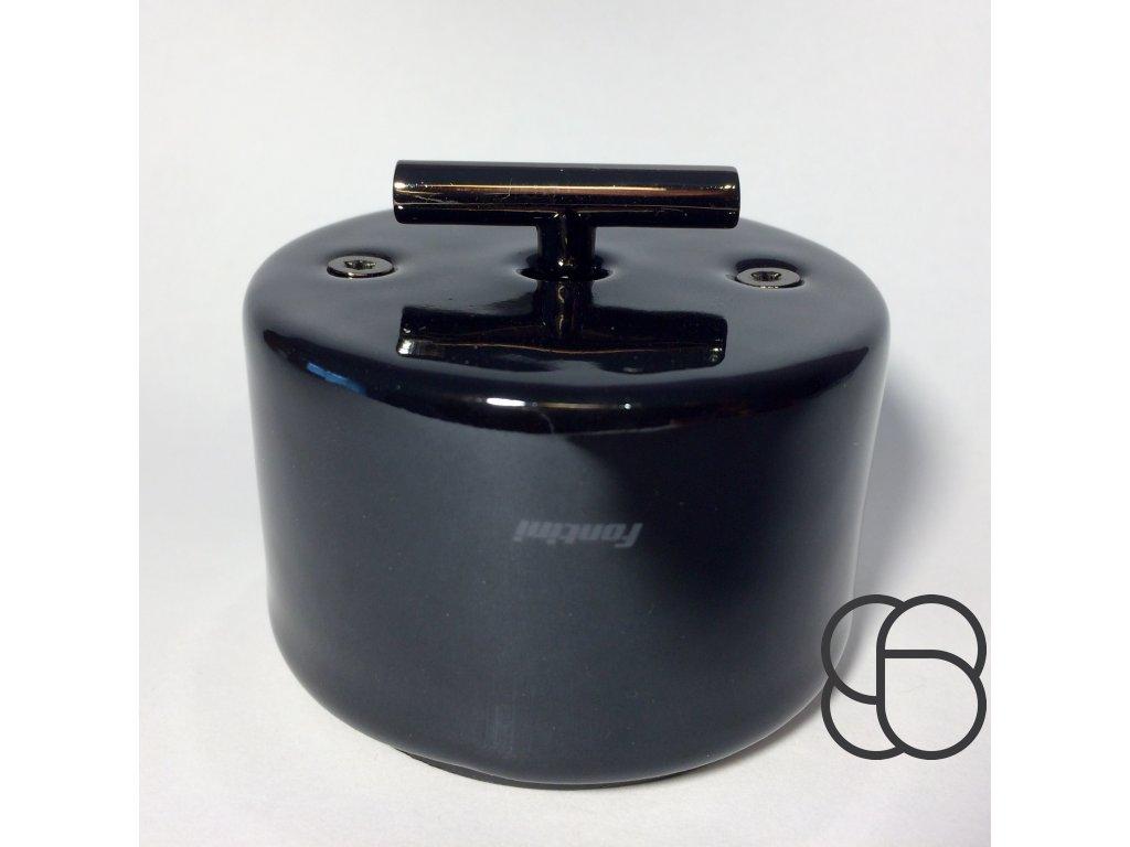Porcelánový vypínač DO SURFACE černý/klička tmavý nikl