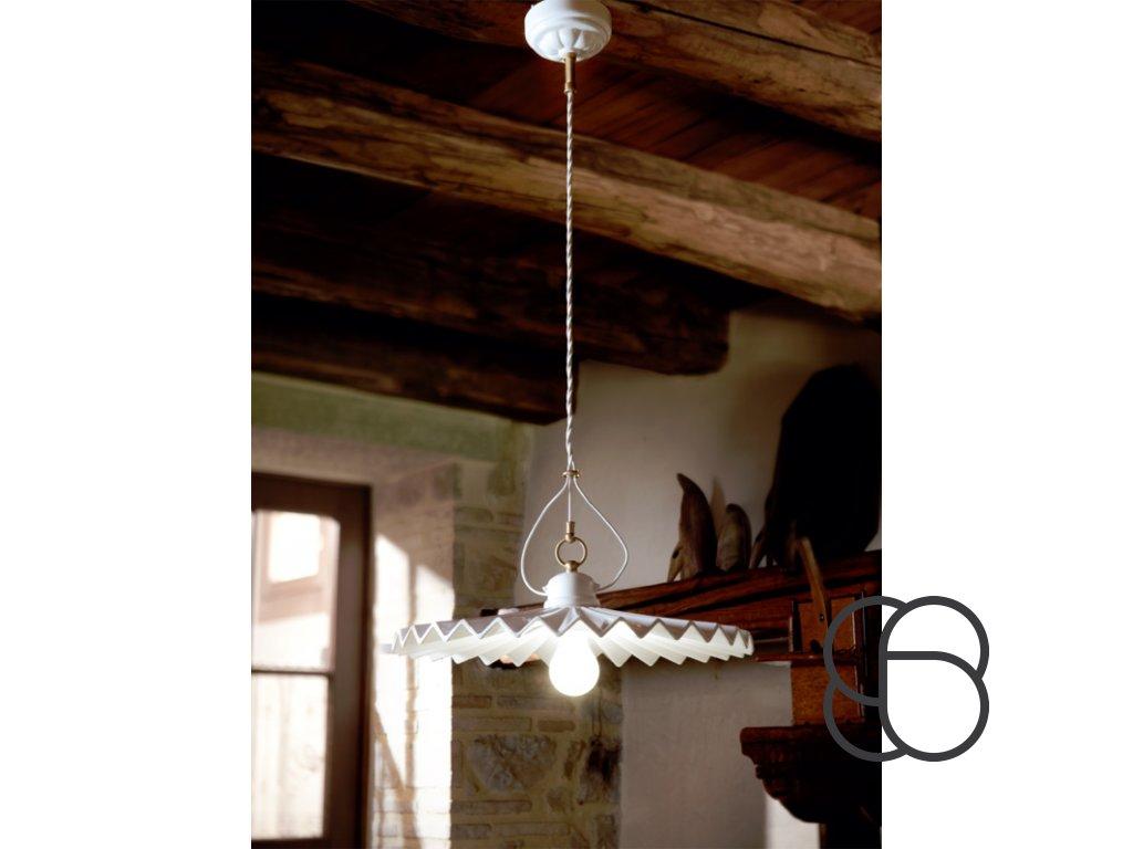 Porcelánové závěsné stropní svítidlo retro Linea Piega 1