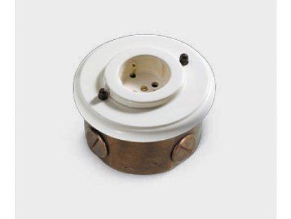 Nástěnná kulatá zásuvka retro mosaz/porcelán