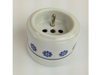 Porcelánová zásuvka GARBY bílá/modro-stříbrný dekor