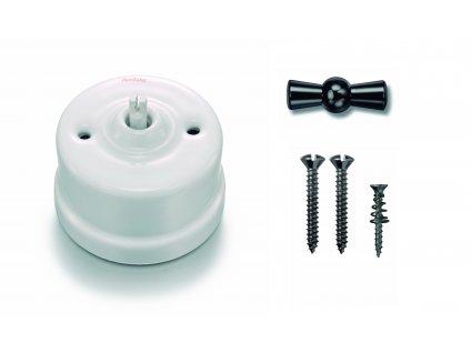 Porcelánový vypínač povrchový Garby bílý/klička černý nikl