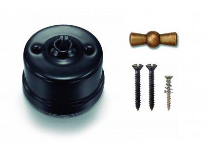 Porcelánový vypínač povrchový Garby černý/klička antická bronz