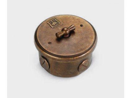 Nástěnný otočný vypínač retro mosaz