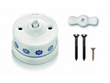 Porcelánový vypínač povrchový Garby M/S dekor, klička bílá