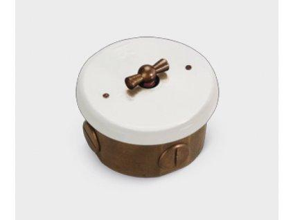 Nástěnný otočný vypínač retro mosaz/porcelán