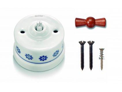 Porcelánový vypínač povrchový Garby M/S dekor, klička med