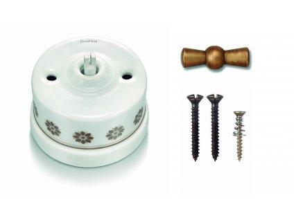 Porcelánový vypínač povrchový Garby H/Z dekor, klička antický bronz