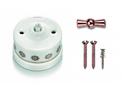 Porcelánový vypínač povrchový Garby H/Z dekor, klička měď