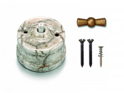 Porcelánový vypínač povrchový  Garby Reggia/antická bronz klička