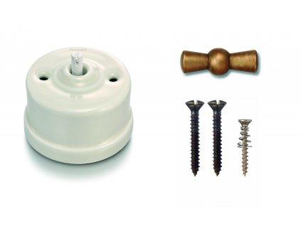 Porcelánový vypínač povrchový Garby smetanová/klička antický bronz