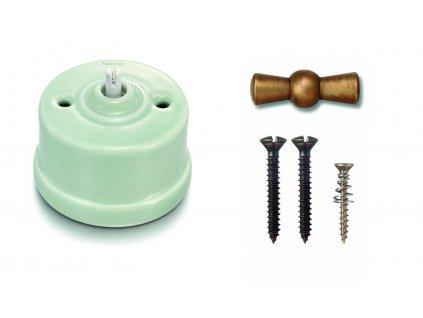 Porcelánový vypínač povrchový Garby spec. zelený pastel/klička antický bronz
