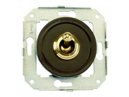 Plastový vypínač Venezia hnědý/zlatá páčka