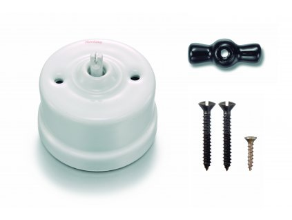 Porcelánový vypínač povrchový Garby bílý/klička černá