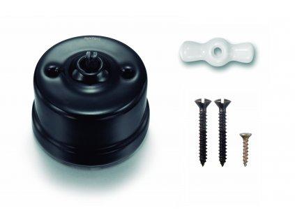 Porcelánový vypínač povrchový Garby černý/klička bílá