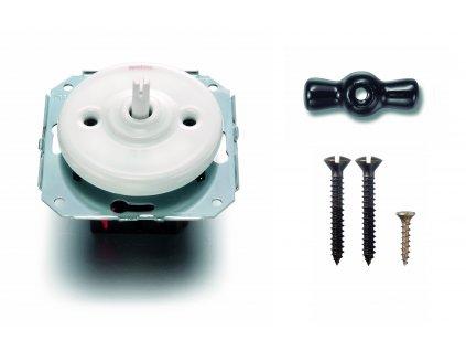 Porcelánový vypínač Garby Colonial bílý/klička černá
