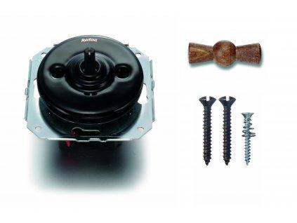 Porcelánový vypínač Garby Colonial černý/klička Old Wood