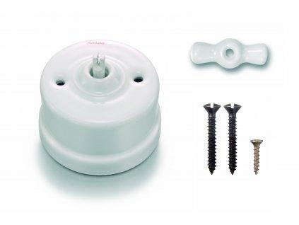 Porcelánový vypínač povrchový Garby bílý/keramická klička