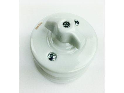Porcelánový vypínač povrchový Garby bílý/retro klička