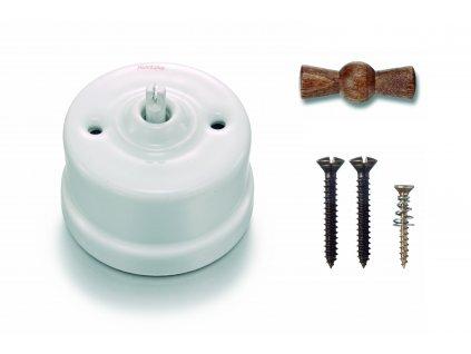 Porcelánový vypínač povrchový Garby bílý/Old Wood klička