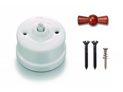 Porcelánový vypínač povrchový Garby bílý/medová klička