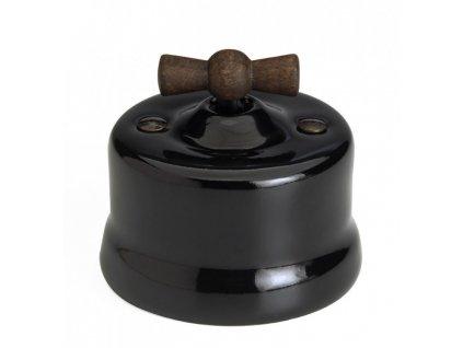 Porcelánový vypínač povrchový Garby černý/Old Wood klička