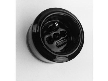Porcelánová zásuvka GARBY bez zdířky/černá