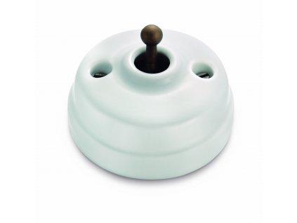 Porcelánový vypínač Dimbler bílá/antická bronz páčka