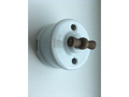 Porcelánový vypínač povrchový Garby bílý s old wood  kličkou  - výprodej