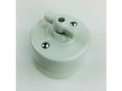 Porcelánový vypínač povrchový Garby bílý s bílou kličkou  - výprodej