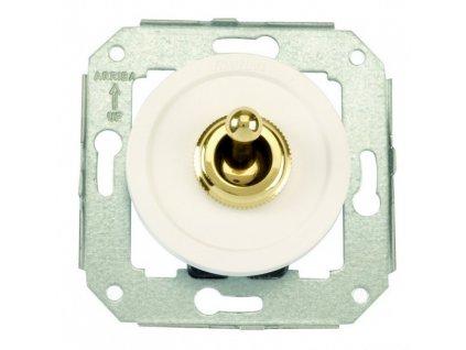 Plastový vypínač Venezia bílý/zlatá páčka