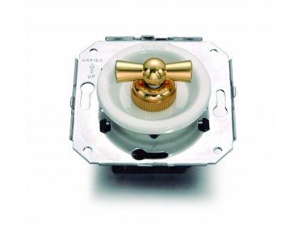 Plastový vypínač Venezia bílý/zlatá klička