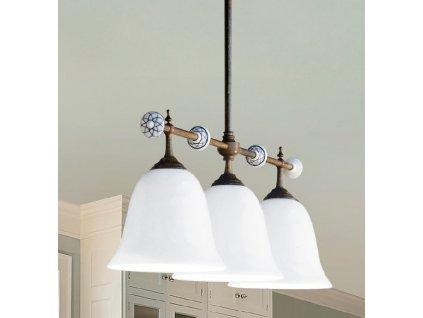 Porcelánové závěsné stropní svítidlo retro Linea Caracoi, tři stínítka