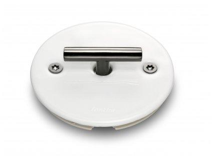 Porcelánový vypínač LOW bílý/klička tmavý nikl