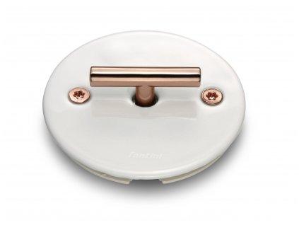 Porcelánový vypínač LOW bílý/klička měď