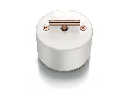 Porcelánový vypínač DO SURFACE bílý/klička měď
