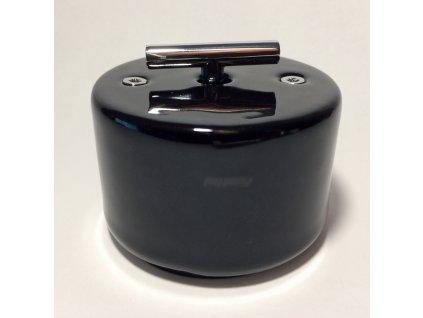Porcelánový vypínač DO SURFACE černý/klička chrom