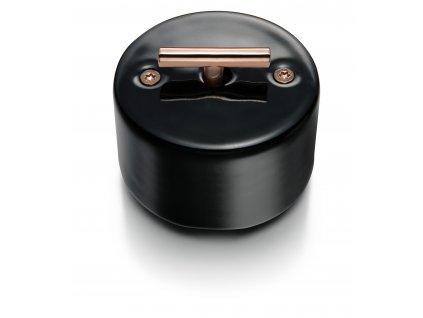 Porcelánový vypínač DO černý/klička měď
